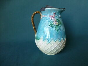 Antique Majolica Floral with Trellis Syrup Pitcher with Pewter Top