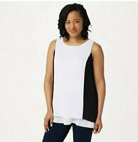 Dennis Basso Sleeveless Woven Color-Block Top White/Black, Size 14
