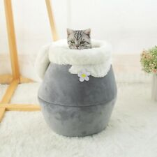 New listing Warm Cat Bed Plush Soft Portable Foldable Round Cave Sleeping Bag Cushion Pet