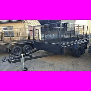 11x6 GALVANISED TANDEM TRAILER WTH CAGE 2TON 1 PIECE FOLD also 10x6 12x6