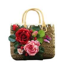 Vogue Women's Vinatge Flowers Decor Straw Weave Handbags Fashion Tote Beach Bags