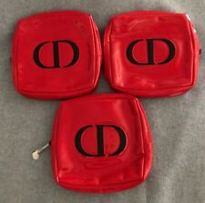 Lot 3 Christian Dior Parfums Clutch Make Up Hand Bag Purse, Deep Dark Red