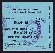 More details for tottenham hotspur v arsenal reserves 1960/1961 *vg condition ticket - double*