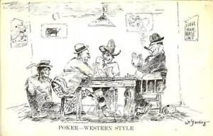 western gambling postcard playing poker playing cards artist william standing