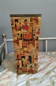 Vintage Umbrella Stand Wood w French Advertising Print Lovely Decorative Accent!