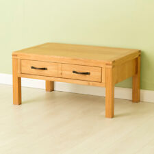 Abbey Oak Coffee Table / Waxed Oak Lounge Table / Solid Wood Table with Drawer