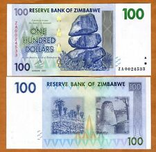 Zimbabwe, $100, 2007 (2009) P-69r, UNC > Scarce ZA Replacement