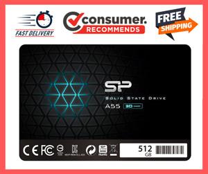 "SP 512GB SSD 3D NAND A55 SLC Cache Performance Boost SATA III 2.5"" 7mm (0.28"") I"