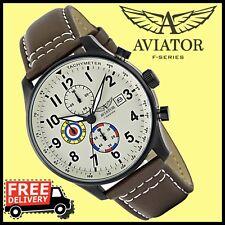 AVIATOR Vintage Herren Uhren Militär Pilotenuhr Fliegenuhr Braun Armband Leder