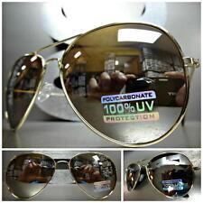 Men's Women CLASSIC VINTAGE RETRO Style SUN GLASSES Large Gold Frame Mirror Lens