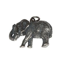 Sterling Silver .925 Lucky Elephant Oxidized Charm Pendant | Made in USA