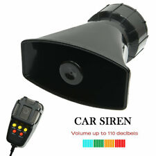 12V 7 Tone Sound Motor Police Siren Horn + Mic PA Trumpet System Fire Alarm Loud
