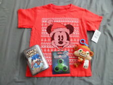 Kids Disney Mickey Mouse Santa Tshirt XS Lot of 4 Shirt ~Spinner ~Toys New Gift
