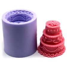 Lz0101 Handmade 3D Three-tiered Cake Shaped Reisn,Clay Candle Molds Silicone