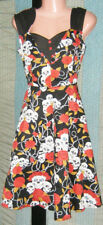 Rockabilly Dress 50s 12 retro tattoo print red black stretch cotton