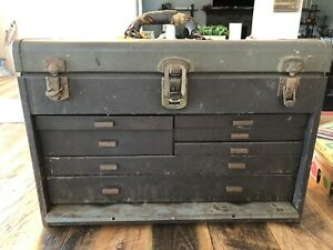 VINTAGE MACHINIST TOOL CHEST BOX 3 DRAWERS WATCHMAKER METAL 7 Drawers