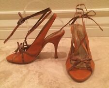 R&RENZI GIANMARCO LORENZI Orange Leather Snake Ankle Tie Open Toe Heels 37 ITALY