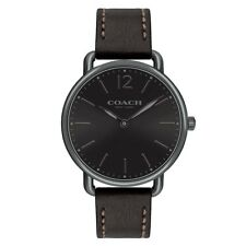 Coach 14602346 Delancey Analog Quartz Black Round Dial Leather Strap Men's Watch