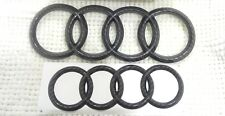 AUDI Q3 Q5 Q7 Black Carbon Emblem Badge Logo Front Grill + Rear Boot Trunk SET