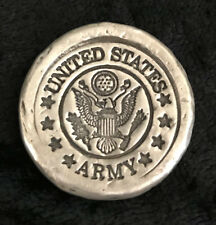 "1 Troy Oz   MK BarZ U.S. ""Army"" Tribute Stamped .999 FS Round"