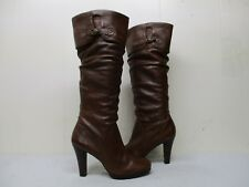 MATISSE Vamp Brown Leather Knee High Heel Slouch Boots Womens Size 10 M