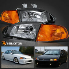 For 92-95 Honda Civic EG EH EJ 4Dr Sedan JDM Black Headlights+Corner Lights 4PC
