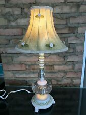 Feminine Shabby Chic Table Lamp Bedroom Girl's Pink Green Pearls SH Lighting EC