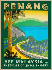 Penang Malaya Malaysia Vintage Railroad Travel Advertisement Art Poster Print