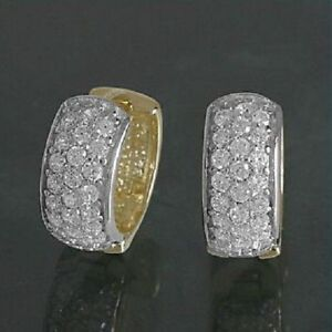 333 Echt Gelbgold Klappcreolen Kreolen Ohrringe breite Zirkonia Damen 14 mm