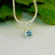 Sky Blue Topaz Sterling Silver Pendant  w/ Snake Chain Necklace
