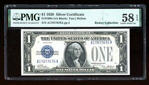 DBR 1928 $1 Silver Fr. 1600 AA Block PMG 58 EPQ Serial A17877676A