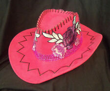 Deep Pink w Purple Roses Cowboy Cowgirl SHOW HAT Rodeo Horse Show