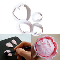 4Pcs Cookie Fondant Cutter Decorating Mold Peony Flower Petal Sugar Paste Tool