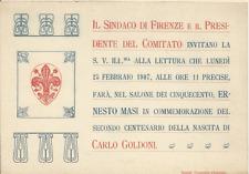 SINDACO FIRENZE_BIGLIETTO D'INVITO_ERNESTO MASI_ CARLO GOLDONI_25 FEBBRAIO 1907