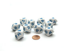 Pack of 10 D10 Korean Numbers Dice Numbered 1 to 10 - White with Blue Etches
