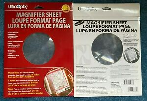"Lot Set of 2 UltraOptix Handi-Lens Magnifier Sheet 8.25"" x 11"" loupe"