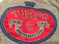Vintage! Tuborg Beer USA Breweries Ltd Brewed Light Gray Tee Shirt sz XL