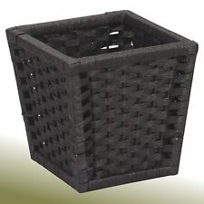 Paper Rope Wicker Waste Basket Bed Bath Room Black Small Trash Container Storage