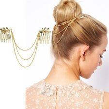 ATHENA Gold Leaf Hair Comb Chain Headpiece Golden Boho Bohemian Chic Fashion