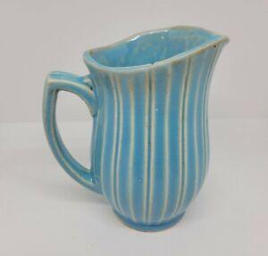 Vintage McCoy Pottery Pitcher Robin Egg Blue White Stripe Ribbed Relief