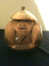"""VTG HAND CARVED COCONUT MONKEY COIN BANK WIRE RIMMED SPECTACLES HAWAII 7"""" H VGUC"""
