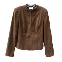 VTG Gianni Jacket Brown Faux Suede Zip Fitted Cropped USA Mock Collar Lined 10