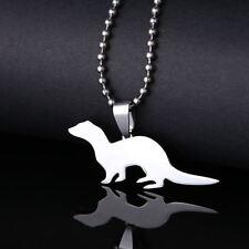 New Stainless Steel Ferret Pet Charm Pendant Necklace Furkid Furbaby Fert Weasel