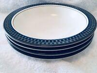 """Set Of 4 Mikasa Potter's Touch Aztec Blue RIMMED SOUP BOWLS 8 1/4"""""""