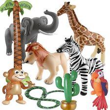 Aufblasbare Tiere Safari Kinder Party Deko Elefant Löwe Giraffe Zebra Palme Affe