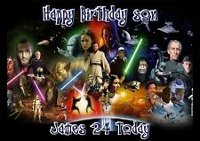 Personalised birthday card star wars son grandson daughter brother dad