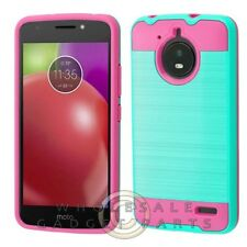 Motorola Moto E4 Brushed 2/PC Hybrid Case - Teal Green/Hot Pink Guard Shield