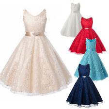 Kids Girls Lace Princess Dress Wedding Bow Belt Party Birthday Prom Clothing Age