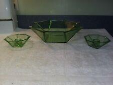 New ListingFostoria Art Deco Green Glass Console Set Inventory Reduction Sale