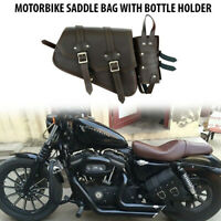 Motorcycle Leather Side Saddle Bags Harley Sportster Brown PU Leather Waterproof